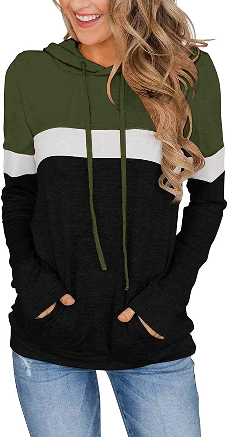Women's Casual Color Block Long Sleeve Hooded Drawstring Pullover Sweatshirt Tops Sweater with Pocket