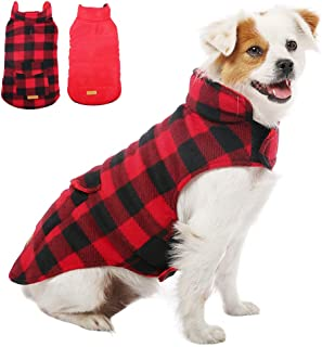 Kuoser British Style Plaid Dog Winter Coat, Windproof Cozy Cold Weather Dog Coat Dog Apparel Dog Jacket Dog Vest for Small Medium and Large Dogs with Pocket & Leash Hook XS-3XL