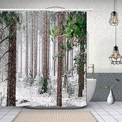 AdaCrazy Winter Land natürlichen Wald Bauernhof Baum Duschvorhang Antike hölzerne Kiefer mit Zweig Tanne Tanne im Schnee Wald Bad Gardinen wasserdicht Bad Gardinen 71 x 71 Zoll