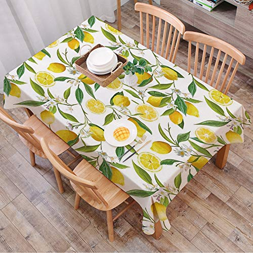 Tablecloth Rectangle Table Cloth Cotton Linen Wrinkle Free,Nature,Exotic Lemon Tree Branches Yummy Delicious Gardening Design,Fern,Tablecloths Washable Table Cover for Kitchen Dinning Party 140x200 cm