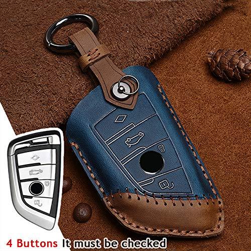 Funda para llave de coche con mando a distancia para BMW Serie 1 3 5 7 X1 X2 X3 X4 X5 X6 118i 320li 523li 525li 528li 530 Coche 3 4 Botones de cuero Smart Key sin llave (4 botones-azul)