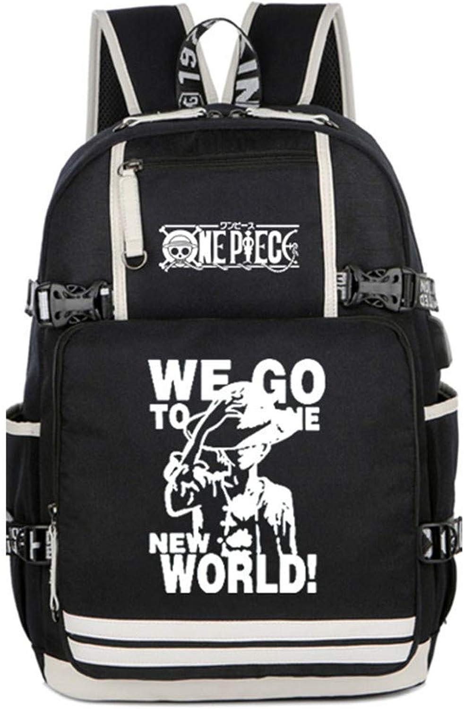 One Piece Anime Leuchtend Backpack Schultasche Student Laptoprucksack Rucksack mit USB-Ladeanschluss  3