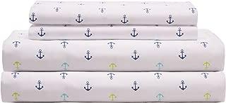 Elite Home Products 90 GSM Microfiber Coastal Beach-Themed Printed Sheet Set, Full, Anchors Blue