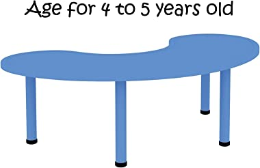 2xhome – Blue – Kids Table – Height Adjustable 21.75 inches to 22.75 inches - Half-Moon Plastic Activity Table with Metal Legs for Toddler Child Furniture Preschool School Indoor or Outdoor