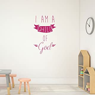 Religious Wall Decals - I Am a Child of God With Banner - Christian Home Decor for Playroom, Nursery, Children's Bedroom, Church Decoration