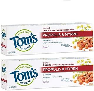 Tom's of Maine Antiplaque Fluoride-free Fennel Toothpaste with Propolis and Myrrh, Toothpaste, Fluoride Free Toothpaste, Fennel, 5.5 Ounce, 2-Pack