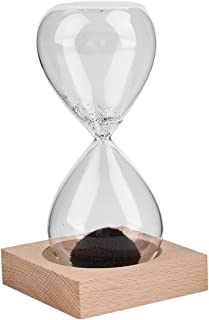 Leonie Stewart Hand-Blown Timer Clock Magnet Magnetic Crafts Sand Clock Hourglass Timer Christmas Home Decoration Best Gift - Black(Sand) & Clear(Glass)