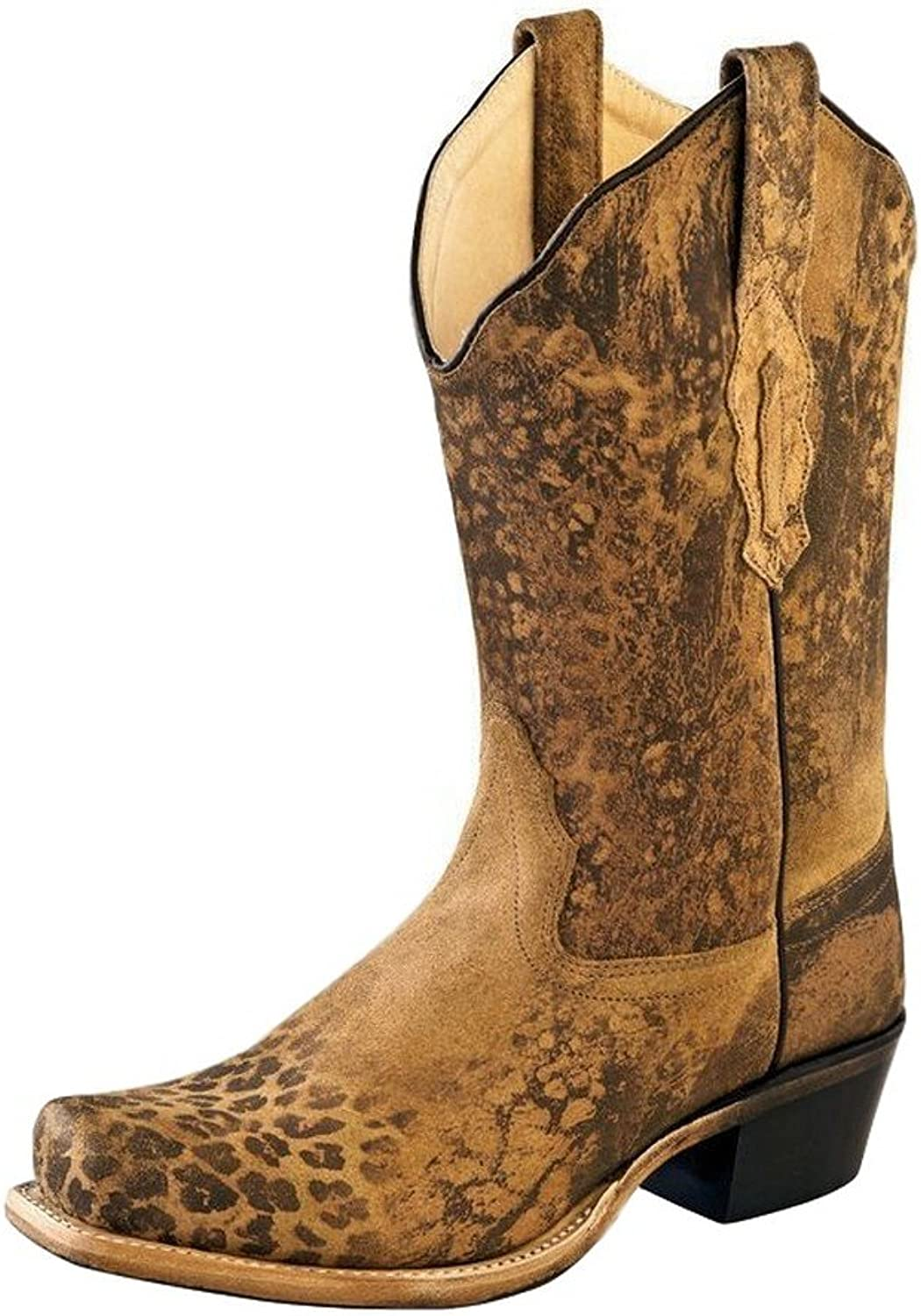 Old West Cowboy Boots Womens Leather Leopard Square 6.5 M Brown 18009
