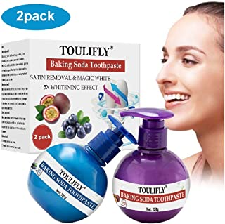 Whitening Toothpaste,Baking Soda Toothpaste,Teeth Whitening Toothpaste,Intensive Stain Removal Whitening Toothpaste,Strengthening Toothpaste Fight Teeth Bleeding Gums Stain 2 Pcs