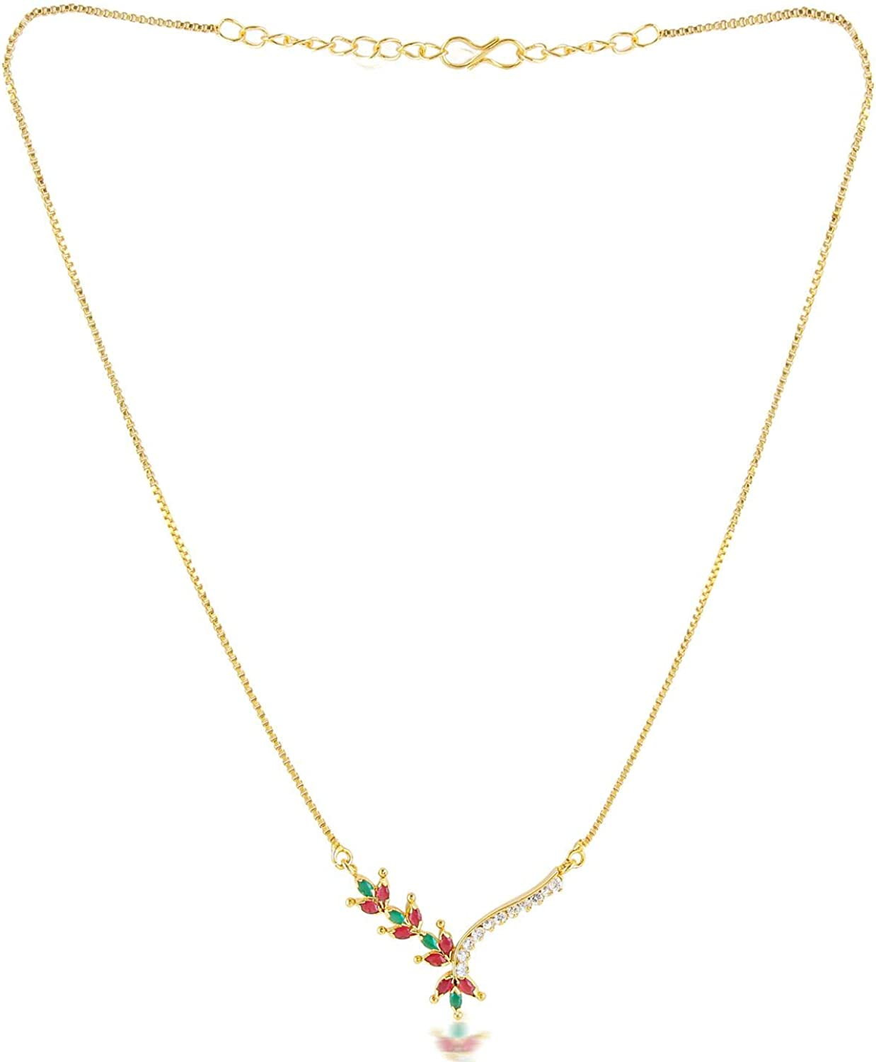 Efulgenz Gold Tone Indian Traditional Pendant Necklace with Chain and Earrings Jewelry for Girls/Women