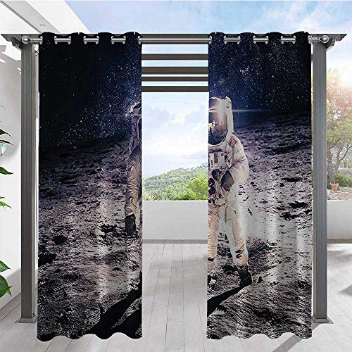 Adorise Indoor Outdoor Curtains Moon Spaceman on Surface of Orbit Background Cosmos Galaxy Solar Photo Porch Decor Privacy Curtain Used in Hardtop Gazebo Brown Blue W120 x L108 Inch