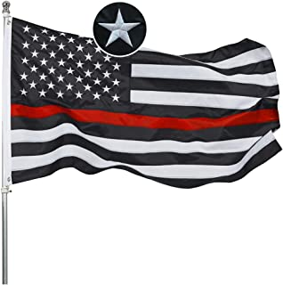 Best Embroidered Thin Red Line Firefighter Flag 3x5 Ft- Black White Red Stripes American Red Lives Matter Honoring Firefighter Flags Banner Durable Polyester with 2 Grommets Review