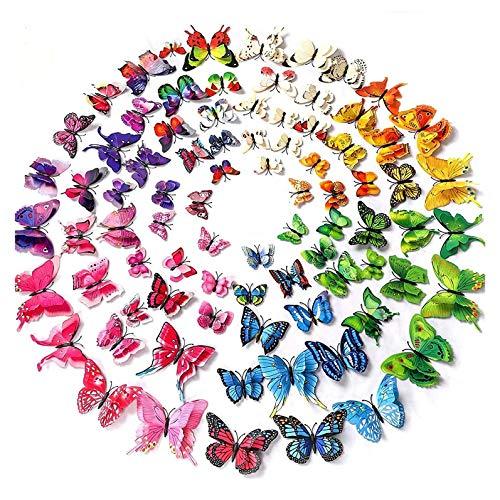 96 pegatinas de pared de mariposa de color 3D, decoración de boda / fiesta de cumpleaños, decoración del hogar para niños / guardería / sala de estar, pegatinas de pared extraíbles de bricolaje.