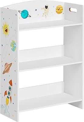 SONGMICS Bookcase, Kid's Bookshelf with 3 Shelves, for Children's Room, Playroom, for Books, Toys, White