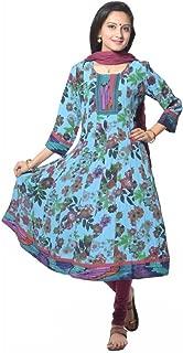 Blue Multi Flower Printed Moss Crepe Anarkali suit
