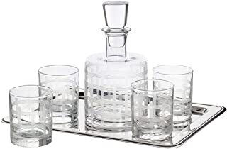 Fifth Avenue Crystal 210372-5JF 5 Piece Decanter Set – Lead-Free Matching Decanter & Glassware for Everyday or Entertaining – Modern Glasses-Gift for Weddings, Birthdays & Holidays, Small, Clear