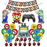 Cumpleaños Mario Bros Globos Decoraciones para niños Super Mario Globos Aluminio Super Mario Pancarta Decoración Mario Bros Cumpleaños Pastel Decoraciones