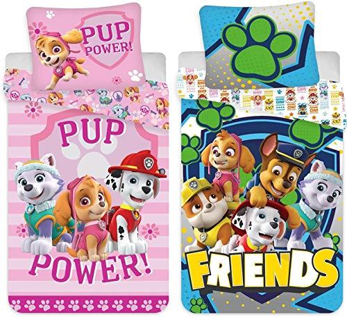 rainbowFUN.de Juego de ropa de cama infantil de algodón de la Patrulla Canina, 2 unidades, 100 x 135 cm, 40 x 60 cm