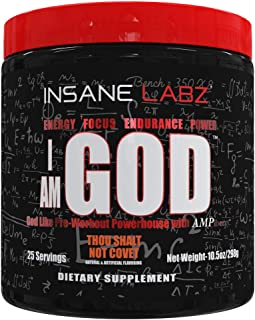 Sponsored Ad - Insane Labz I am God Pre Workout, High Stim Pre Workout Powder Loaded with Creatine and DMAE Bitartrate Fue...