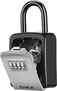 ORIA Key Lock Box, 4 Digit Combination Key Safe Box, Weatherproof Key Storage Lock Box, 5 Keys Capacity with Removable Sha...