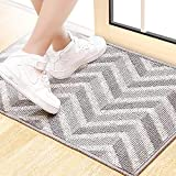 BCLBUSTE Entryway Rug,Odorless and Non-Slip Indoor Door Mat,Low-Profile Dirt-Absorbing Rugs for Entryway,Easy to Clean and Machine Washable - 31.5'x19.7',Gray