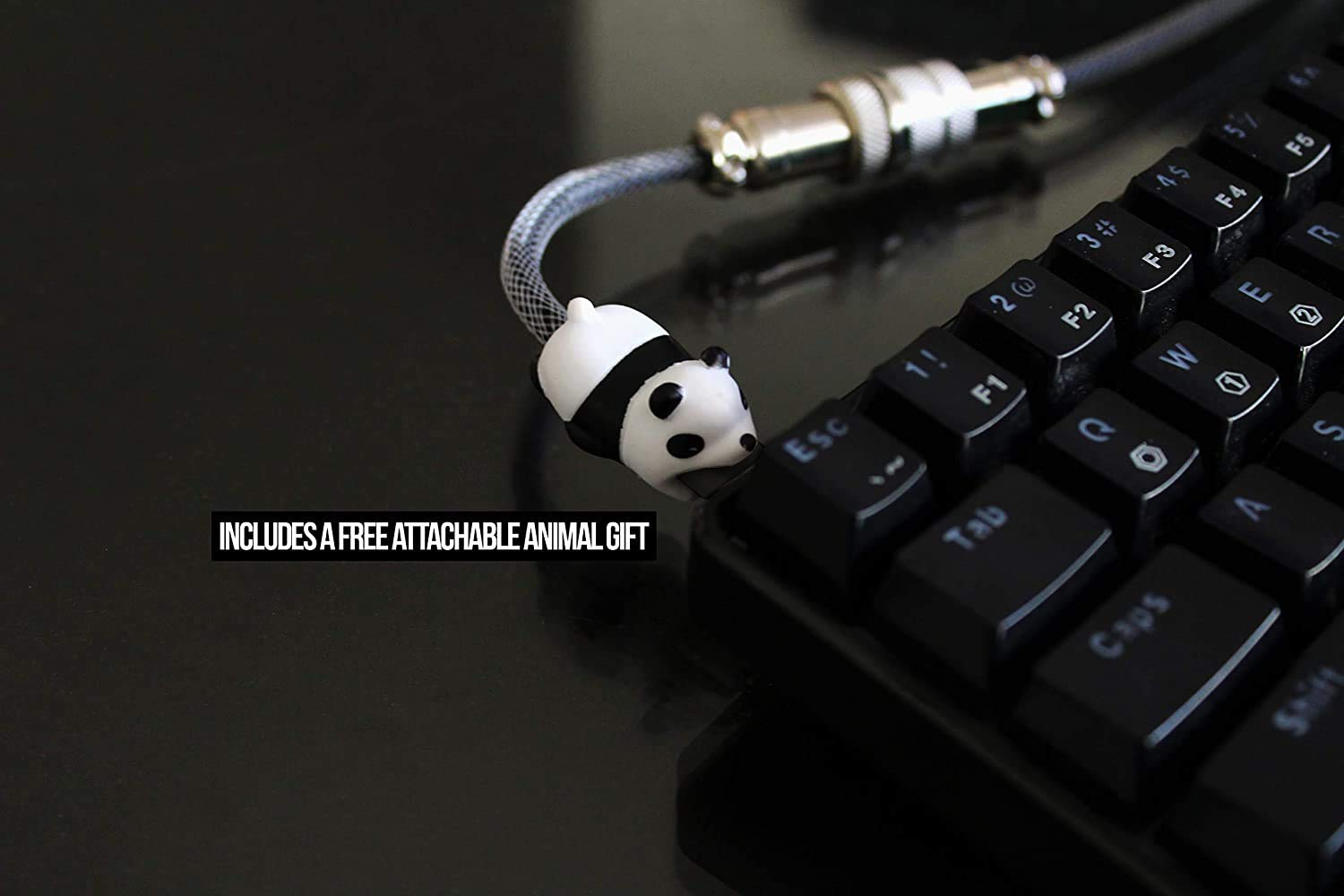 White and USB-Mini Mechanical Keyboards Micro USB Fits Type-c Double Sleeved Custom Keyboard Cable with Aviator Connector