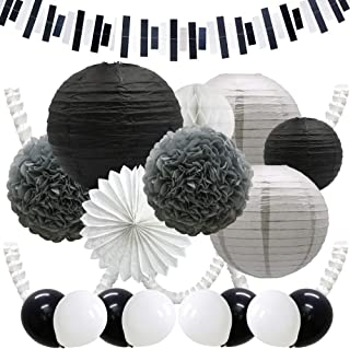 ADLKGG Black White Paper Lanterns, Pom Poms Flowers, Leaf Clover Garland Banners, Square Banner, Hanging Paper Fans, Honeycomb Ball, Party Balloons for Wedding Birthday Graduation Decorations