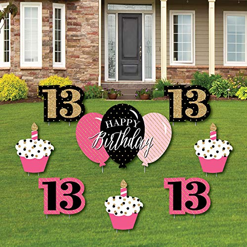 Chic 13th Birthday - Pink, Black and Gold - Yard Sign and Outdoor Lawn Decorations - Happy Birthday Party Yard Signs - Set of 8