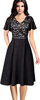 Womens Floral Lace V Neck Patchwork Pockets Pleated Cocktail Party A-Line Dress