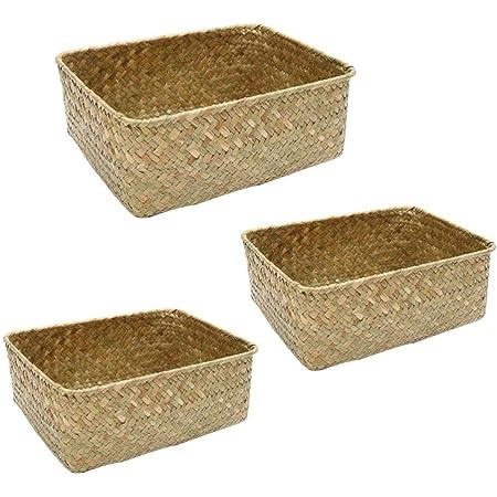 Hemoton Lot de 3 paniers de rangement carrés en osier tressé - Multifonctionnel - Pour chambre d'enfant, salle de bain, cuisine