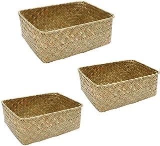 Hemoton Lot de 3 paniers de rangement carrés en osier tressé - Multifonctionnel - Pour chambre d'enfant, salle de bain, cu...