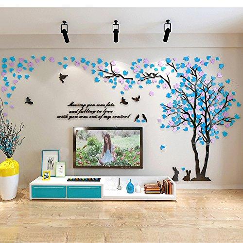 Vinilo Árbol Adhesivo 2.87*1.5m Pegatinas Pared con Azul y Rosa Derecho Decoracion Hogar para Sala de Estar Salon Tatuajes Pared Acrilico