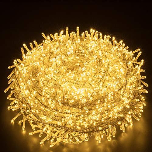 Lichterkette Außen Warmweiß 25M 1000 LEDs Elegear LED Weihnachtsbeleuchtung Strombetrieb Weihnachten Deko 8 Modi LED Lichterkette für Innen Außen Neujahr Weihnachtsbaum Party Hotel Garten Hochzeit