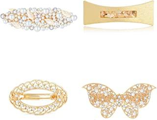 IPINK Vintage Women Shiny Crystal Hairpin Elegant Retro French Hair Barrette Clips