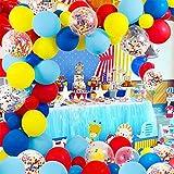 SPDYCESS Kit Guirlande Ballon 84Pcs Balloon Arch Kit Rouge Jaune Bleu Vert Confettis Rempli Ballons en Latex pour Anniversaire De Mariage Toile De Fond Décorations