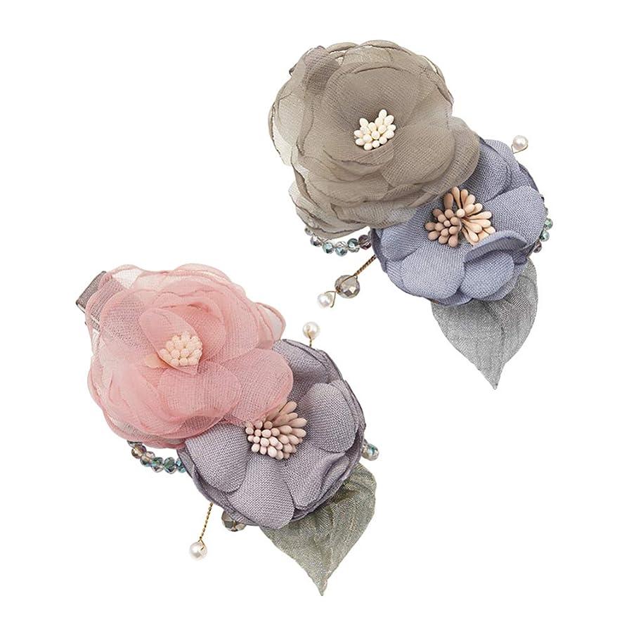 ヘルメットデクリメントすべきLurrose 花ヘアクリップ生地エレガントなバレットデートヘアピンクリスマスギフト用女性レディーガール2ピース