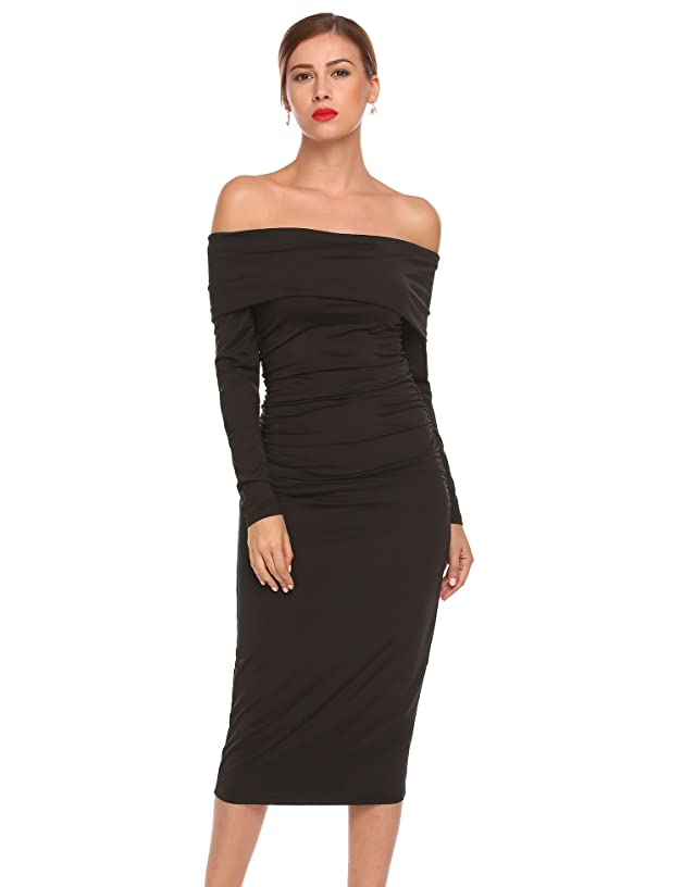 ELESOL Women's Sexy Off Shoulder Stretchy Ruched Bodycon Midi Party Cocktail Dress
