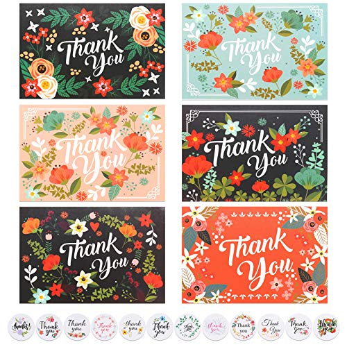 You&Lemon 24 Stück Dankeskarte Set mit 24 Stück Umschlag und Aufkleber, Danke Karten, Grußkarte für Weihnachten Schulabschluss Jahrestag Baby-Dusche,10X15cm