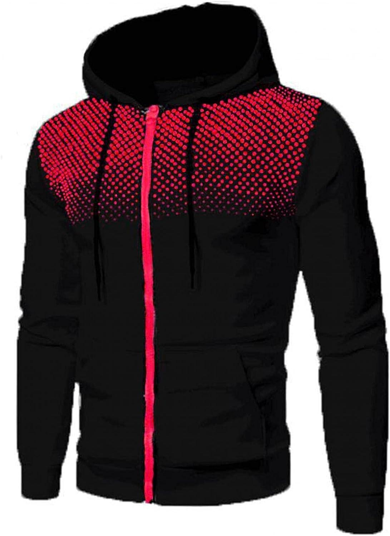 Hoodies for Men Mens Autumn And Winter Leisure Sports Polka Dot Mens Zip Up Hoodies Pocket Fashion Sweatshirt Hoodies
