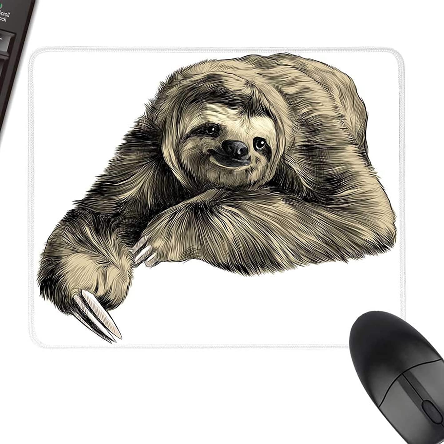 Sloth Wrist Comfort Mouse Pad Sweetly Smiling Jungle Animals Lying Down with Crossed Legs Tropic Fauna Sketch Natural Rubber Gaming Mouse Mat 35.4