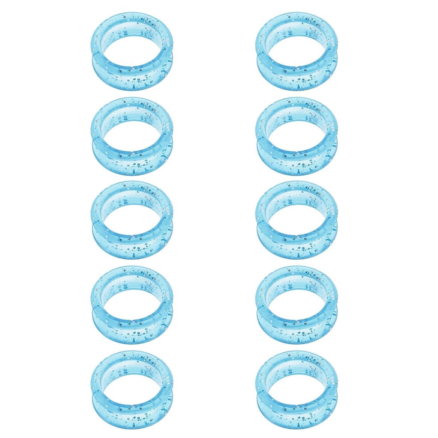 薄める電池溶岩Perfeclan はさみ 指穴調整リング シザーリング 10個入 ゴム製 5色選べる - ブルー