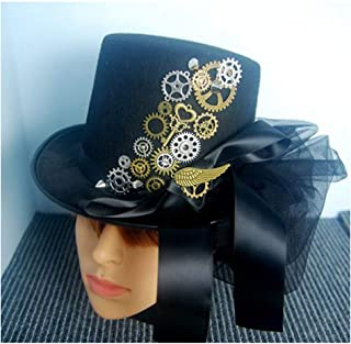 SHENTIANWEI Women Steampunk Top Hat with Belt Stage Magic Hat Handmade Hat Tea Party Hat Size 57CM