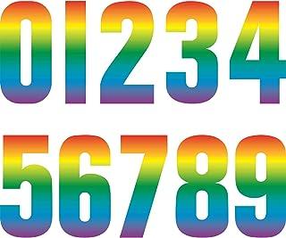 3 Feuilles Autocollants de Numéros Colorés Autocollants Auto-Adhésifs 0-9 Poubelle à Roulettes Décorative Autocollants Num...