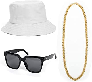 Cool 80s 90s Hip Hop Rapper Costume Outfit Kit Bucket Hat Gold Chain Beads Nerdy DJ Lens Sunglasses