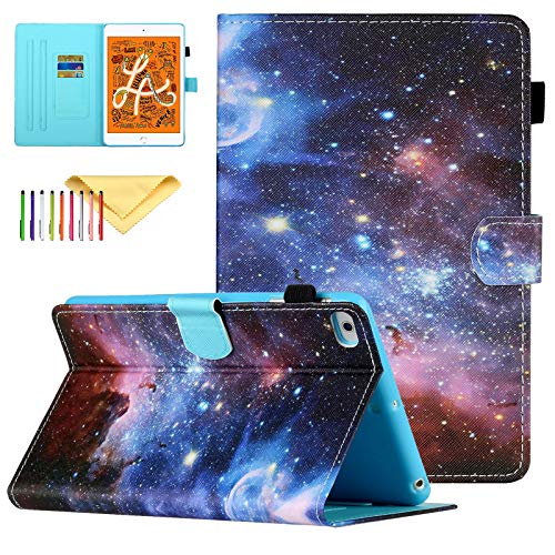 Uliking Case Compatible with Apple iPad Mini 5/4/3/2/1 Smart Shell Stand PU Leather Cover with Pencil Holder, Galaxy