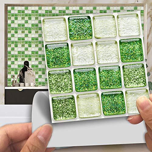 Azulejos AdhesivosBeige Verde BrillanteVinilosCocinaAzulejosAntisalpicadurasVinilosBañoAzulejosImpermeableVinilosdeparedDecorativosPinturaparaAzulejosAdhesivodePared 10x10cm