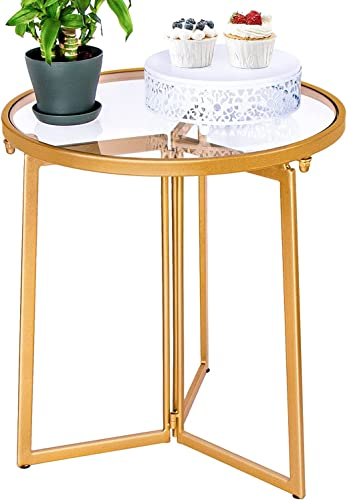 popular Donosura End Tables sale Living Room, 18K Gold Side Tables for Small Spaces, Tempered Glass Top Round Bed Side 2021 Table/Night Stand End Table Bedroom Balcony, 18 inch Small Accent Tables, Metal sale