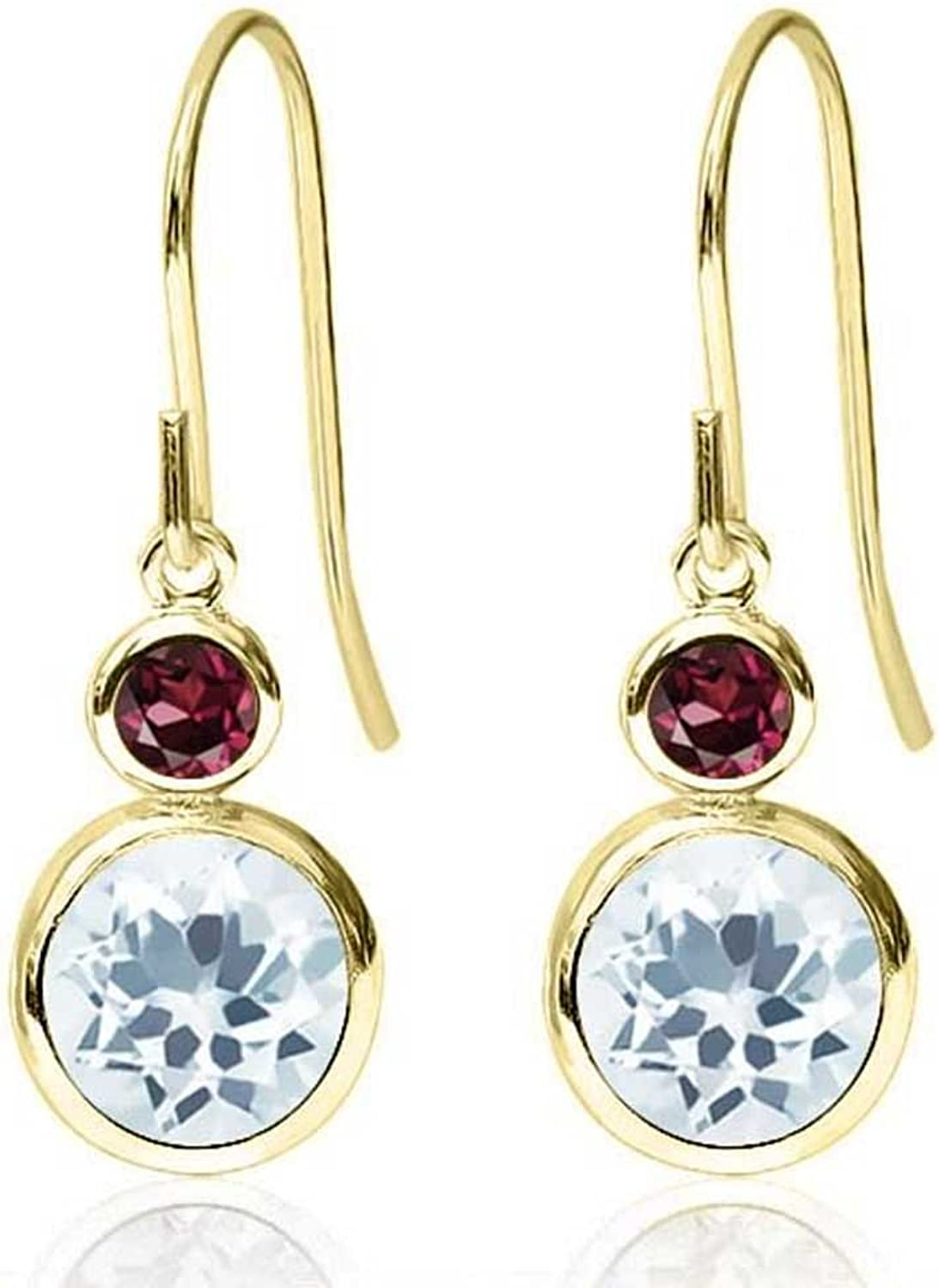 1.74 Ct Round Sky bluee Aquamarine Red Rhodolite Garnet 14K Yellow gold Earrings