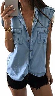 EGELEXY Women Denim Shirt Sleeveless Lapel Neck Button Down Summer Tee Tops Blouse