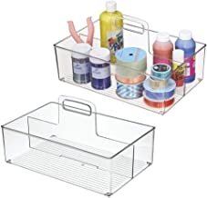 mDesign Plastic Portable Craft Storage Organizer Caddy Tote, Divided Bin with Handle for Craft, Sewing, Art Supplies - Hol...